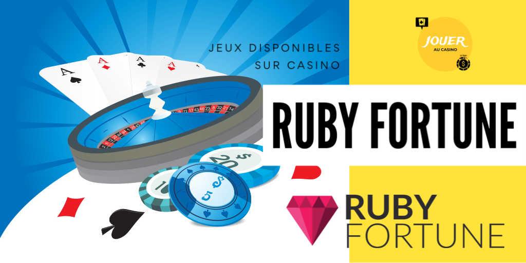 jeux disponibles sur le casino ruby fortune